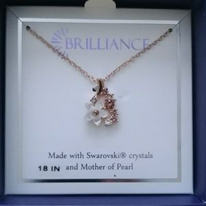 Swarovski and mother of pearl flower necklace